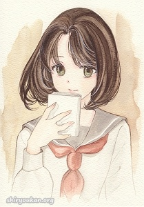 茄子「読書の秋」直筆イラスト