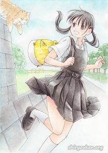 塩田有「きみも近道?」直筆イラスト