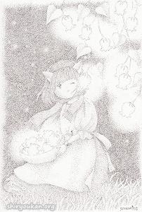 soramite先生 直筆 点描画 「夜ひかる花」